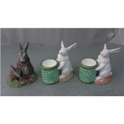 3 Rabbit Figurines, Lefton Wild Hare, Zrike