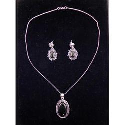 Black Onyx 3 Pc Sterling Earrings, Pendant Necklace Set