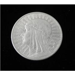 Poland 10 Zlotych Silver Maiden Coin 1932-Very Hi Grade