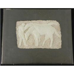 Betty Heredia Original Bas Relief Scultpure Frmd-Horses
