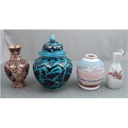 4 World Vases Cloisonne, Ceramic, -Rome, Japan