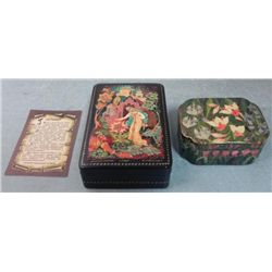 2 Hand Made Lacquer Trinket Boxes -Russia, India