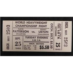 Patterson Vs. Liston 1962 Boxing Match Original Ticket