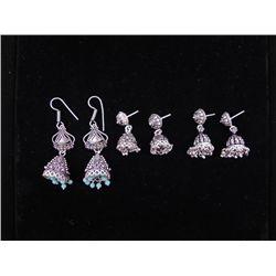 3 Pr Sterling Earrings w/Dangling Beads Lt Blue, Silver