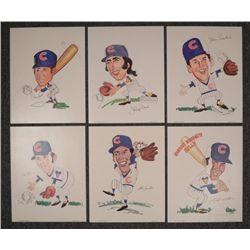6 1972 Chicago Cubs Caricature Prints Santo, Pepitone