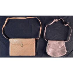 2 Umberto Brown Woven Italian Leather Purse & Brief