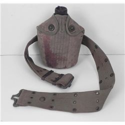 WWII U.S. ARMY WEB BELT AND CANTEEN W/ CANVAS COVER