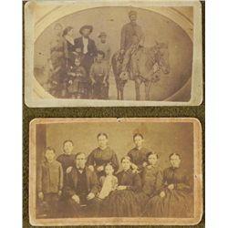 2 Antique CDV Photographs Large Family Families Horse