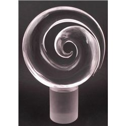 Artist Signed Clear Glass Sculpture Spriral Swirl