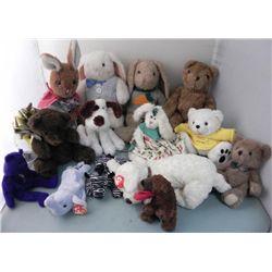 Variety 14) Stuffed Animals- Dogs Rabbits Bears Zebra