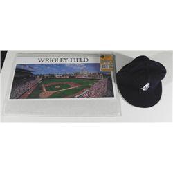 Chicago Cubs Baseball Cap & Wrigley Field Triptych Art