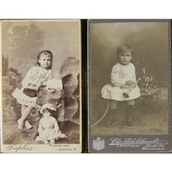 2 Antique CDV Photographs Girl & Boy Child w/Doll, Toys