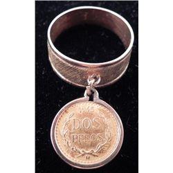 1945 Dos Pesos Gold Coin Ring on 14K Band