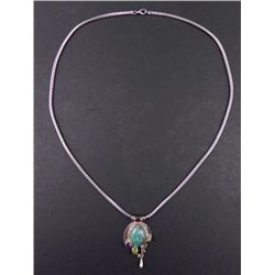 Sterling Silver Turquoise Gemstones Pendant Necklace