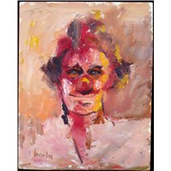 Original Clown Painting in Pink Framed 1983