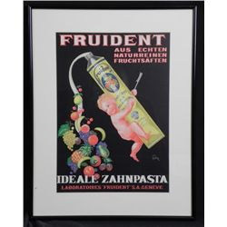 Fruident Vintage Toothpaste Advertising Poster 1930 Frm