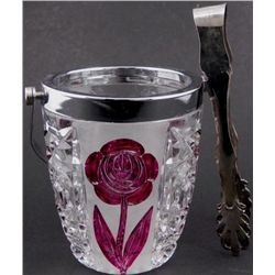 Small Crystal Ice Bucket w/Color Etched Flowers