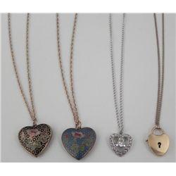 4 Heart Shaped Pendand Necklace: Cloisonne, Locket Vint