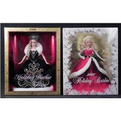 2 Barbie Happy Holidays Dolls -MIB 2006, 2007