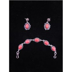 Red Coral 3 Pc Sterling Bracelet & Earrings Set