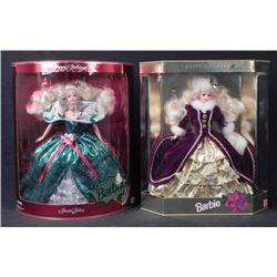 2 Barbie Happy Holidays Dolls 1995, 1996 -MIB