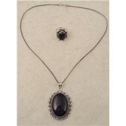 Blue Sunstone 2 Pc Sterling Ring, Pendant Necklace Set