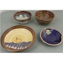 4 Original Art Pottery Bowls Alan Podest, Susan Widran