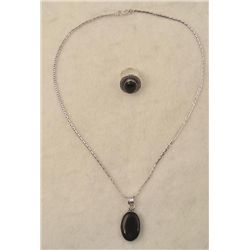 Black Onyx 2 Pc Sterling Ring, Pendant Necklace Set