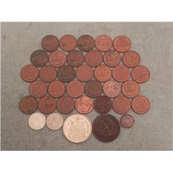 Lot 36 Canada Coins Cents, Token 1842-1970, Some Silver