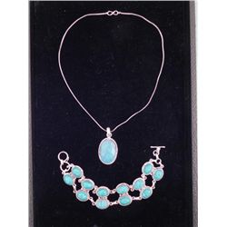 Turquoise Sterling Double Bracelet Pendant Necklace Set