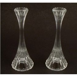 Pair of Fluted Crystal Glass Candlestick Holders 2