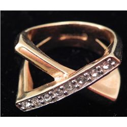 Heavy Gold Electroplate & Diamond Modern X Cross Ring