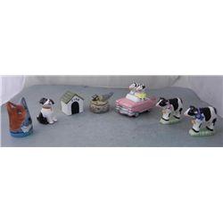 9 Pc Salt & Pepper Shakers Dogs, Cows, Bird