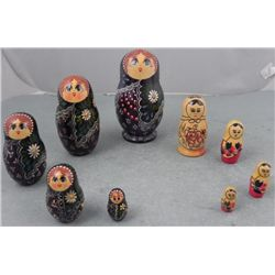 2 Sets Russian Nesting Dolls 4 & 5 Pc Hand Painted USSR