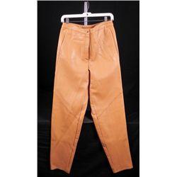 Firenze Santa Barbara Ladies Tan Leather Pants Size 10