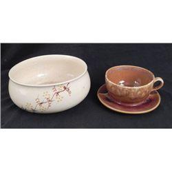 2 Brush Pottery Pcs Serving Bowl & Soup Mug w/Saucer