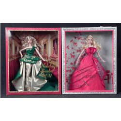 2 Barbie Happy Holidays Dolls -MIB 2011, 2012