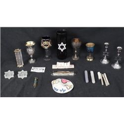 14 Pc Judaica Lot Mezuzahs, Yarmulke, Kiddish, Yahrzeit