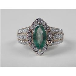 14K Yellow Gold Emerald Ring -Marquise Stone & Diamonds