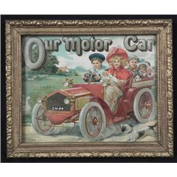 Our Motor Car Antique Childrens Book Print Framed 1910-