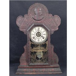 Admiral Dewey Gingerbread Mantle Clock Span-Am 1900