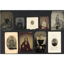9 Antique Tintype Photos Women, Girls Size Gem-1/6