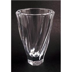 Orrefors Signed Crystal Glass Vase 8 Inches -Sweden