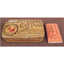 "1890 TOBACCO TIN & CIG PAPER--""HONEST LABOR CUT PLUG"""
