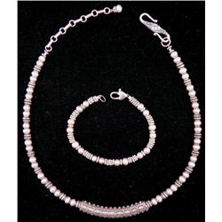 Vintage Sterling Silver Necklace & Bracelet w/ Pearls