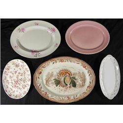 5 Vint Oval Serving Plates,Turkey Platter China Limoges