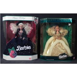 2 Barbie Happy Holidays Dolls 1991, 1994 -MIB