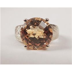 14K Yellow Gold Citrine Ring -Large Round Orange Stone