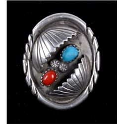 Navajo Silver, Coral, & Turquoise Ring