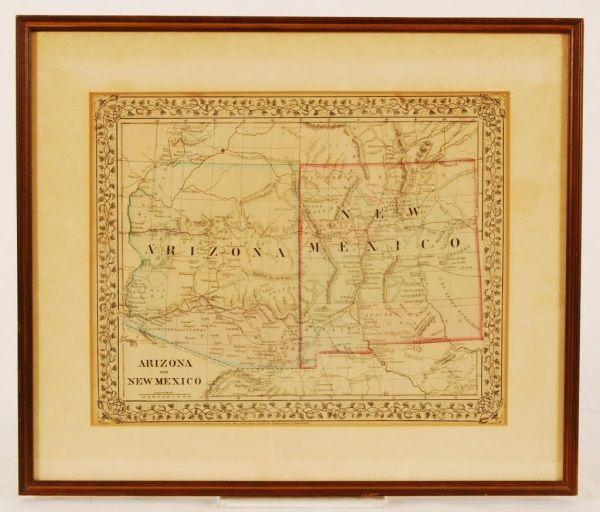 Hand Colored 1860s Arizona/New Mexico Map